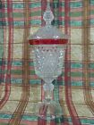 DIAMOND POINT CRANBERRY FLASH  PEDESTAL CANDY DISH  (998)