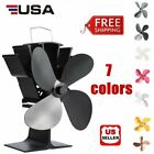 4 Blade Heat Thermal Powered Stove Fan for Wood Log Burner Fireplace Eco FST