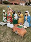 Empire Blowmold 10 pc Nativity Set Light Up Outdoor Plastic Vintage Christmas