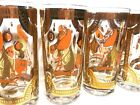 Fred Press Signed Trojan Horse Orange and Gold MCM Drink Glasses - Set of 6
