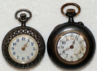 2 Woman's Antique Small Pocket Pendant Watch 1 USA, 1 Swiss made Porcelain Faces