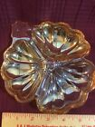 VINTAGE iridescent peach LUSTER GLASS SECTIONED DISH...NICE!!