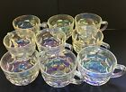 Federal Colonial Yorktown Iridescent Clear Thumbprint Tea Cups -Lot of 9