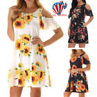 Womens Summer Cold Shoulder Floral Mini Dresses Party Sunflower Boho Sundress US