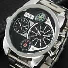Black Dual Time Checked Pattern Men Watch  Stainless Steel Strap Military