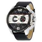 DIESEL IRONSIDE CHRONOGRAPH BLACK DIAL BLACK LEATHER MEN'S WATCH DZ4361 NEW