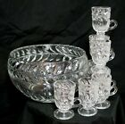 Wreath Sparkly Pressed Glass Punch Bowl Set-8 Mugs