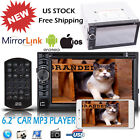 Double Din Car Stereo HD Touch Radio MirrorLink For GPS AUX In TV DVD CD Player