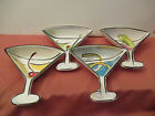 SET OF ALL 4 CLAY ART MARTINI LOUNGE HAND PAINTED SNACK BOWL DISHES 75