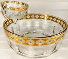 Vintage Culver Chip Dip Bowl Glass Gold Green Valencia Party Arcoroc France MCM