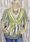 BCBG Max Azria Small V Neck Empire Waist Split Sleeve Striped Top Shirt Tunic