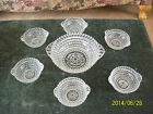Berry Bowl Set 7 Piece Diamond Point Pattern Mid Century Indiana Glass