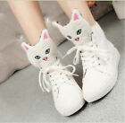 Fashion Womens Athletic Sneakers Cute kitten Round Toe High Top Lace Up Shoes