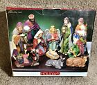 Home For The Holidays 11 Pc Porcelain Nativity Set Plus Wood Base FAST SHIPPING