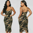 USA Plus Size Ladies Sexy Sleeveless Camo Dress Women Party Bodycon Mini Dress