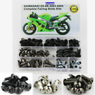 Steel Complete Fairing Bolts Bodywork Kit For Kawasaki ZX-6R ZX-6RR 2003-2004