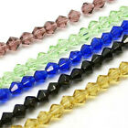 20strands Glass Beads Faceted Bicone Mixed Color Crystal Czech Beads 6mm