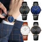 Men Sport Stainless Steel Leather Band Quartz Analog Wrist Watch Gifts Cheap