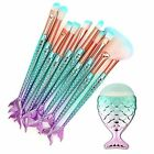 Set of 11 Cinidy makeup brushes with three dimensional siren shape