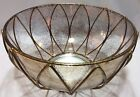 1960s Gold Flecked Glass Bowl With Gold Tone Metal Petal Holder Mid Century MCM