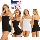 One Piece Women Strapless Long Tube Top Dress Tights Bodycon Micro Mini Dress US