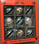 CHRISTOPHER RADKO SHINY BRITE SET 9 SKULL GLASS HALLOWEEN ORNAMENTS TEAL BLACK