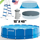 Metal Frame Pool Set 15 x 48 with Filter Pump Ladder Ground Cloth