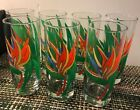 Beautiful set of vintage 7 Libbey glasses red yellow blue green floral