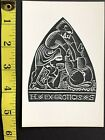EX LIBRIS erotic art postcard bw book plate illustrated woodcut letterpress 25