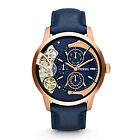 FOSSIL ME1138 Townsman Multifunction RoseGold Navy Blue Leather 44mm Men's Watch