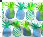 Blue Watercolor Pineapple Summer Fruit Beach Fabric Printed By Spoonflower Bty
