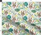 Watercolor Garden Rabbit Easter Spring Floral Fabric Printed by Spoonflower BTY