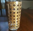 VTG Culver Cannela gold cane cocktail tall tumbler glass mid century modern