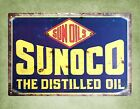 Sunoco the distilled oil tin metal sign poster bar pub