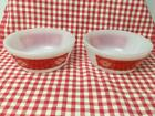 Vintage Federal White Milk Glass Red Picnic Cereal Bowl Heat Proof Lot of 2 RARE