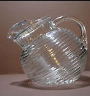 Vtg Retro Anchor-H Tilt Ball Ribbed Glass Juice Drink Half Pitcher Ice Lip 4 Cup