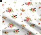 Harvest Posies Feather Boho Retro Native Poppy Fabric Printed by Spoonflower BTY