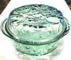 Lot of 2 Libbey Baking Covered 3 QT Casserole Pie Dish Green Glass Orchard Fruit