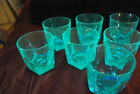 lot of 7 Hazel Atlas Capri Gothic blue old fashioned rocks glasses