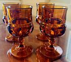 VINTAGE INDIANA AMBER  GLASS KINGS CROWN THUMBPRINT WINE/WATER GOBLETS SET OF 4