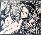 Abstract Woman Rubber Stamp JAPAN Nude Sketch Japanese Collage Face Francisco