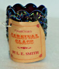 VINTAGE L E SMITH GLASS  AMETHYST CARNIVAL, - TOOTHPICK HOLDER WITH HANG TAG