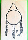 HUGE DREAM CATCHER Rubber Stamp NATIVE AMERICAN Spirit Indian Beads Feather RARE