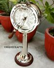 Nautical Chrome Telegraph Vintage Engine Room With Wooden Base Ship Astrolabe