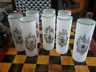 Vintage 1950s Chinoiserie Cocktail Tumblers Set 8 Frosted Applied Lip 7