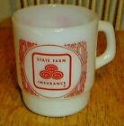 Vintage Fire-King State Farm Insurance Advertising White Milk Glass Mug / Cup