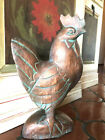Chicken Hen Rooster Hand Carved Copper Patina Wooden Decor Country French Art