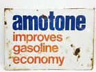 VINTAGE 60S 70S AMOTONE AMOCO GAS STATION FUEL UP SIGN DOUBLE SIDED RARE