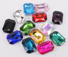 100 Pcs Size Colour Glass Faceted Glass Rhinestones Rectangle Jewels