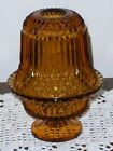 Vintage Amber Indiana Glass Diamond Point Fairy Lamp Candle Light